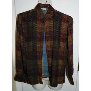 SALVATORE FERRAGAMO Italian Silk Brown Shirt